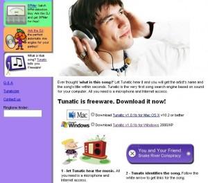 Site Tunatic para baixar o programa